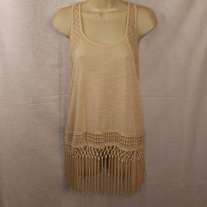 Altar'd  State Cream Color Fringe Ladies Top Small